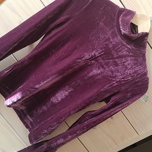 Re:named Purple VELVET bell sleeve mockneck top